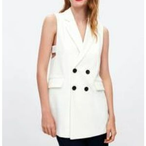 Zara white double breast Waistcoat vest dress